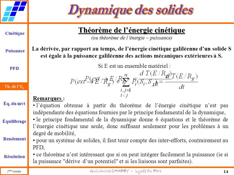 Cinétique PFD Rendement Résolution Puissance Th. de l'E c Éq. du mvt Équilibrage 2 ème année Guillaume CHAPEY - Lycée du Parc 14 Th. de l'E c Théorème