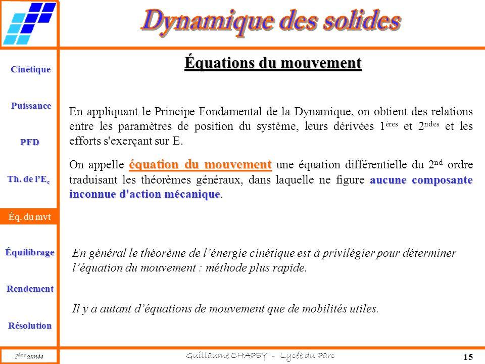 Cinétique PFD Rendement Résolution Puissance Th. de l'E c Éq. du mvt Équilibrage 2 ème année Guillaume CHAPEY - Lycée du Parc 15 Équations du mouvemen