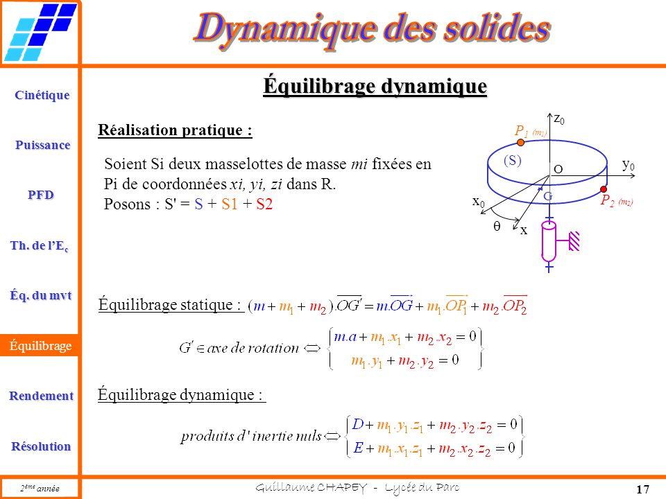 Cinétique PFD Rendement Résolution Puissance Th. de l'E c Éq. du mvt Équilibrage 2 ème année Guillaume CHAPEY - Lycée du Parc 17 Équilibrage dynamique