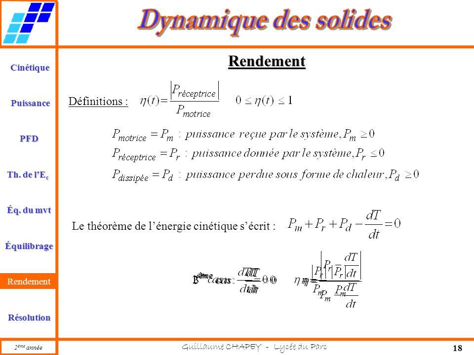 Cinétique PFD Rendement Résolution Puissance Th. de l'E c Éq. du mvt Équilibrage 2 ème année Guillaume CHAPEY - Lycée du Parc 18 Rendement Rendement D