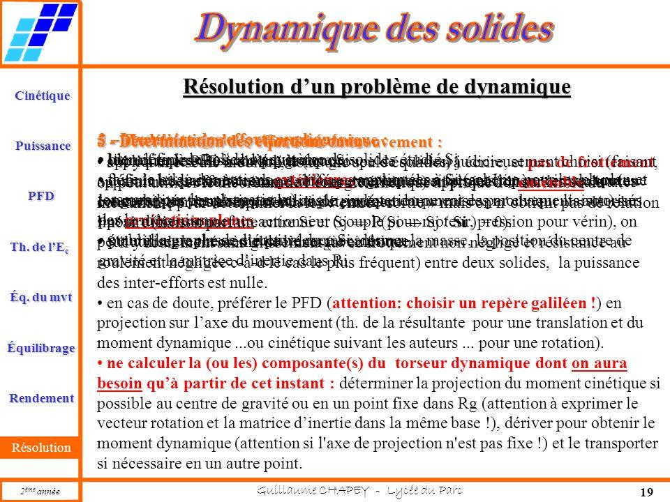Cinétique PFD Rendement Résolution Puissance Th. de l'E c Éq. du mvt Équilibrage 2 ème année Guillaume CHAPEY - Lycée du Parc 19 Résolution d'un probl