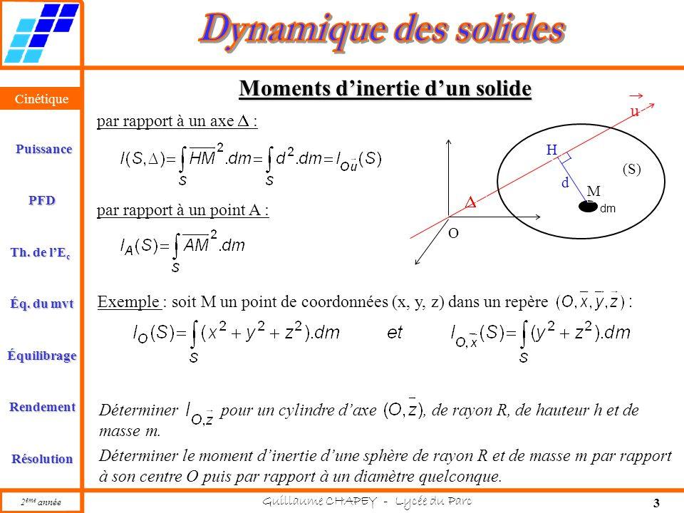 Cinétique PFD Rendement Résolution Puissance Th. de l'E c Éq. du mvt Équilibrage 2 ème année Guillaume CHAPEY - Lycée du Parc 3 Cinétique Moments d'in