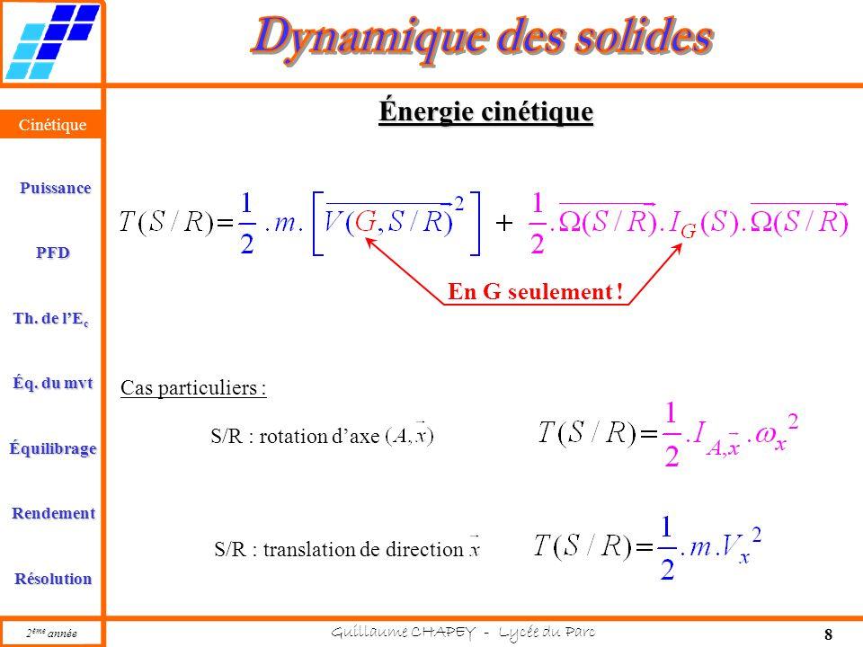 Cinétique PFD Rendement Résolution Puissance Th. de l'E c Éq. du mvt Équilibrage 2 ème année Guillaume CHAPEY - Lycée du Parc 8 Cinétique Énergie ciné
