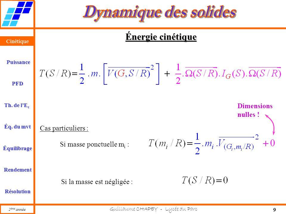 Cinétique PFD Rendement Résolution Puissance Th. de l'E c Éq. du mvt Équilibrage 2 ème année Guillaume CHAPEY - Lycée du Parc 9 Cinétique Énergie ciné