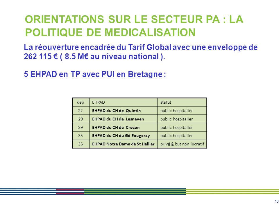10 ORIENTATIONS SUR LE SECTEUR PA : LA POLITIQUE DE MEDICALISATION La réouverture encadrée du Tarif Global avec une enveloppe de 262 115 € ( 8.5 M€ au