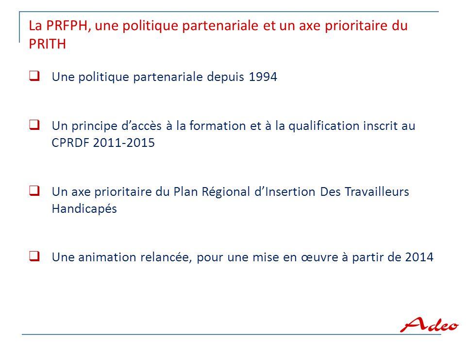 La PRFPH, une politique partenariale et un axe prioritaire du PRITH  Une politique partenariale depuis 1994  Un principe d'accès à la formation et à