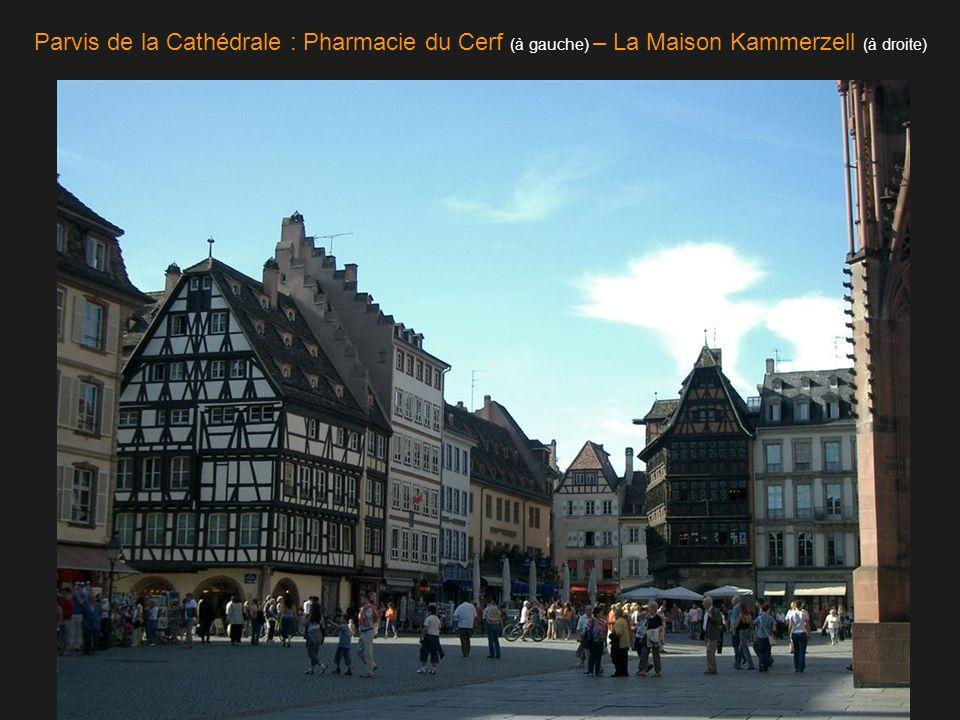 Parvis de la Cathédrale : Pharmacie du Cerf (à gauche) – La Maison Kammerzell (à droite)