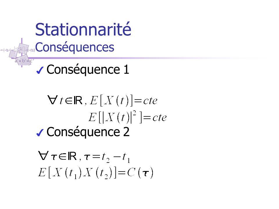 Stationnarité Conséquences ✔ Conséquence 1 ✔ Conséquence 2