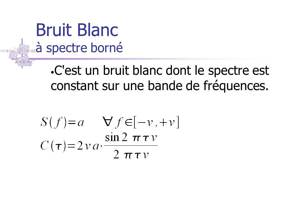 Bruit Blanc à spectre borné C'est un bruit blanc dont le spectre est constant sur une bande de fréquences.