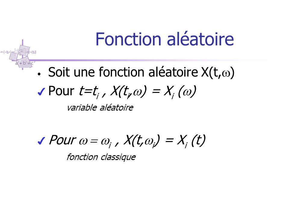 Fonction aléatoire Soit une fonction aléatoire X(t,  ) ✔ Pour t=t i, X(t i,  ) = X i (  ) variable aléatoire ✔ Pour  i, X(t,  i ) = X i (t) f