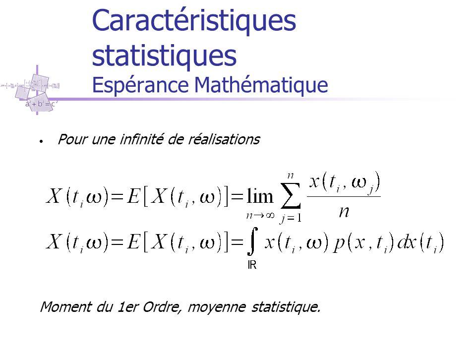 Caractéristiques statistiques Espérance Mathématique Pour une infinité de réalisations Moment du 1er Ordre, moyenne statistique.