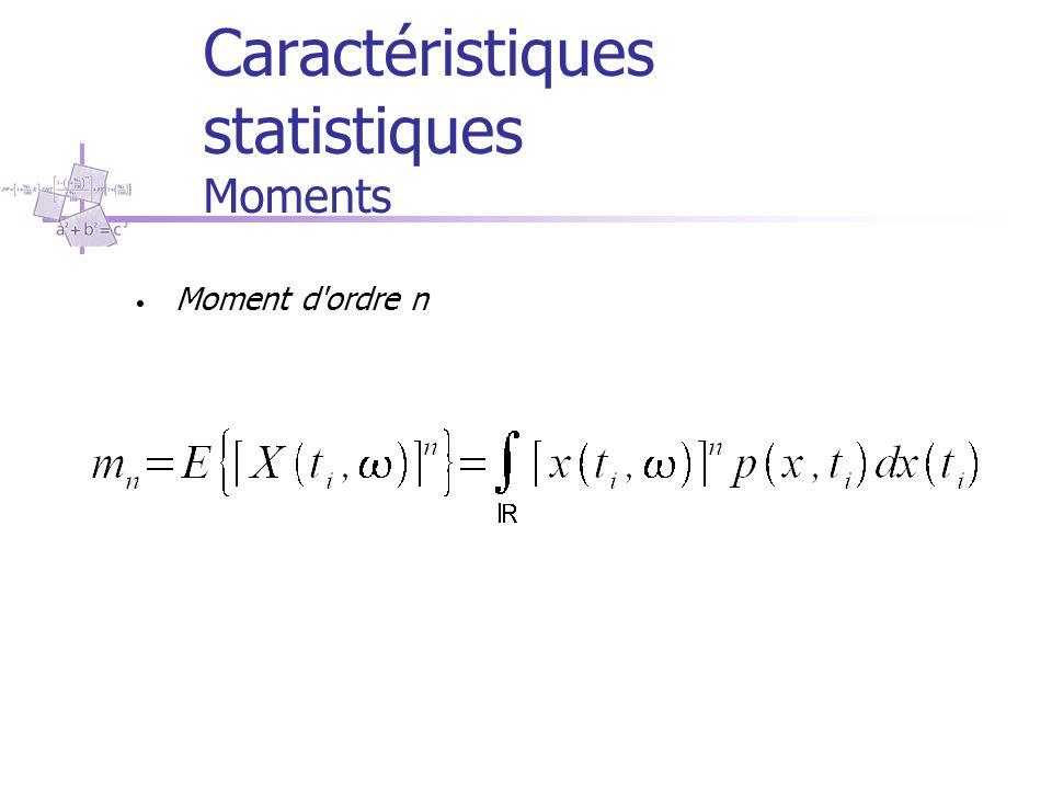 Caractéristiques statistiques Moments Moment d'ordre n