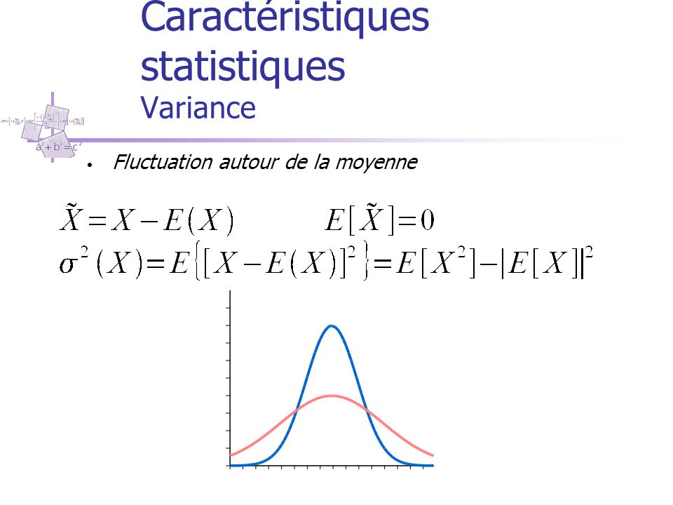 Caractéristiques statistiques Variance Fluctuation autour de la moyenne