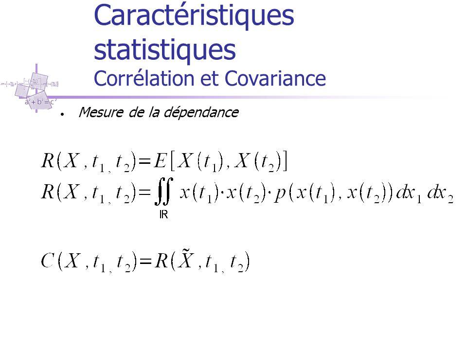 Caractéristiques statistiques Corrélation et Covariance Mesure de la dépendance