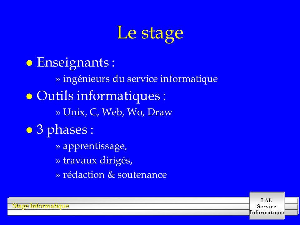 LAL Service Informatique Stage Informatique Le stage l Enseignants : »ingénieurs du service informatique l Outils informatiques : »Unix, C, Web, Wo, D