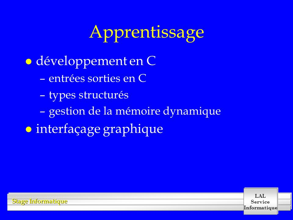 LAL Service Informatique Stage Informatique Exercice d'introduction lecture des objets 1- mise en place du programme 2- lecture simple du fichier 3- analyse du texte lu 4- extraction de l'information 5- structuration de l'information sous forme d'objets 6- sauvegarde dans un fichier