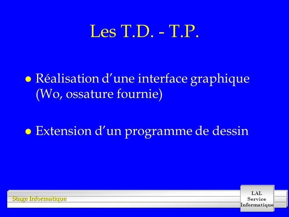 LAL Service Informatique Stage Informatique Les T.D. - T.P. l Réalisation d'une interface graphique (Wo, ossature fournie) l Extension d'un programme
