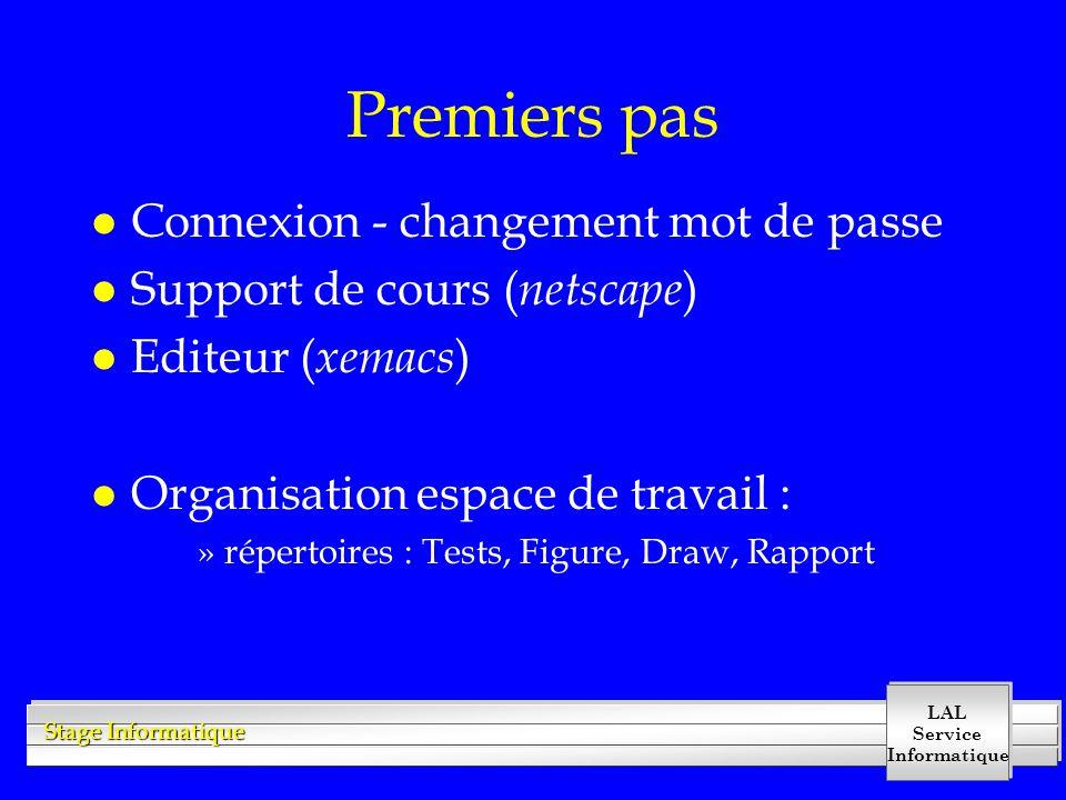 LAL Service Informatique Stage Informatique Premiers pas l Connexion - changement mot de passe l Support de cours ( netscape ) l Editeur ( xemacs ) l