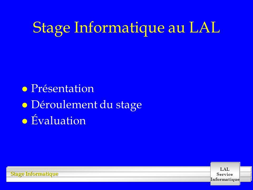 LAL Service Informatique Stage Informatique Le stage l Enseignants : »ingénieurs du service informatique l Outils informatiques : »Unix, C++, Web, Wo, Draw l 3 phases : »apprentissage, »travaux dirigés, »rédaction & soutenance