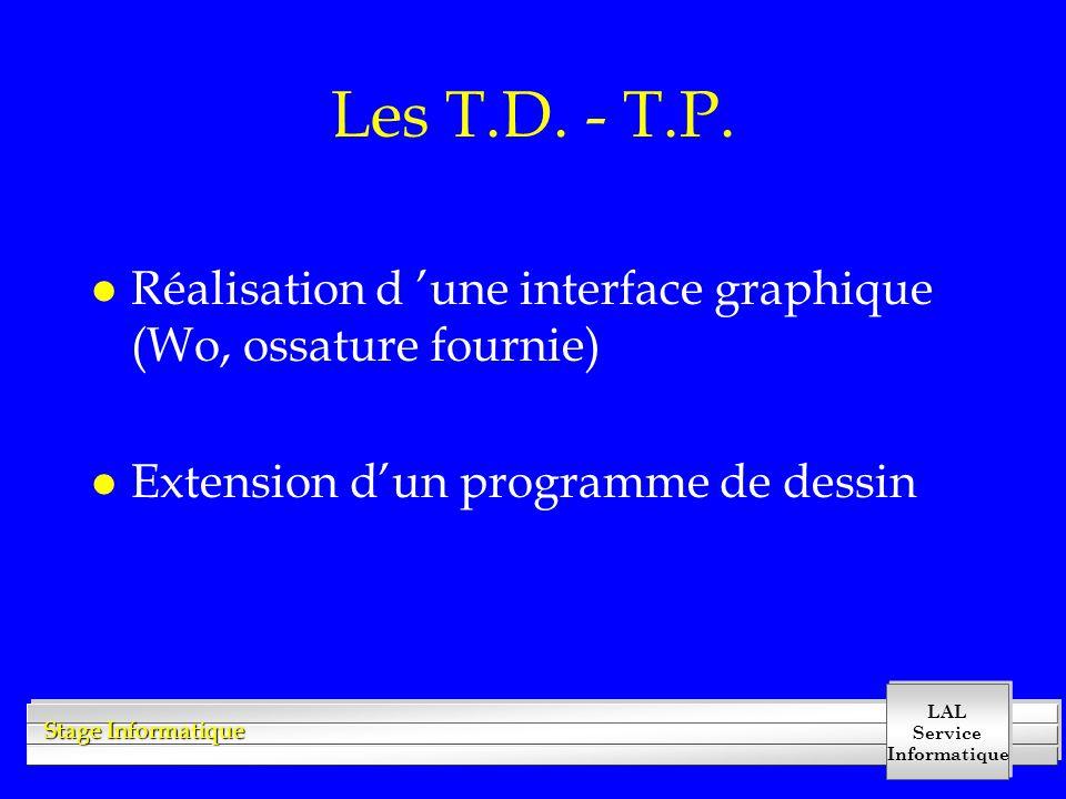LAL Service Informatique Stage Informatique Les T.D. - T.P. l Réalisation d 'une interface graphique (Wo, ossature fournie) l Extension d'un programme