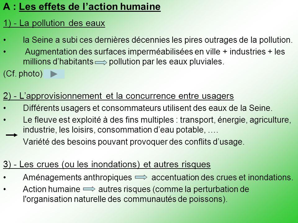 A : Les effets de l'action humaine 1) - La pollution des eaux la Seine a subi ces dernières décennies les pires outrages de la pollution. Augmentation