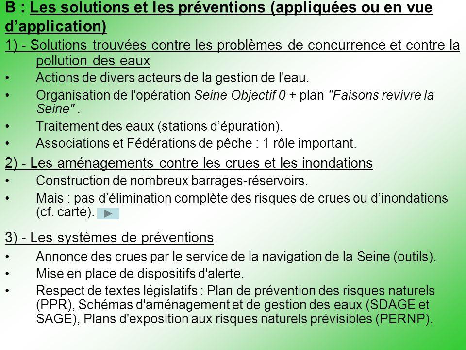 B : Les solutions et les préventions (appliquées ou en vue d'application) 1) - Solutions trouvées contre les problèmes de concurrence et contre la pol