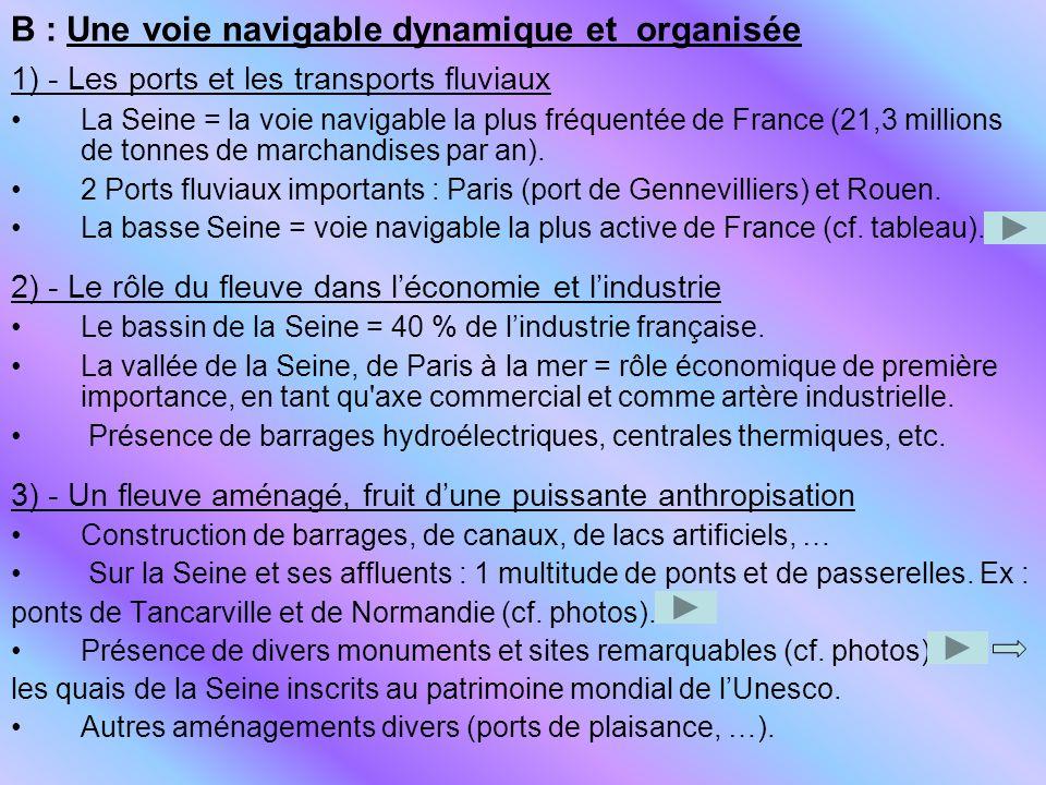 B : Une voie navigable dynamique et organisée 1) - Les ports et les transports fluviaux La Seine = la voie navigable la plus fréquentée de France (21,