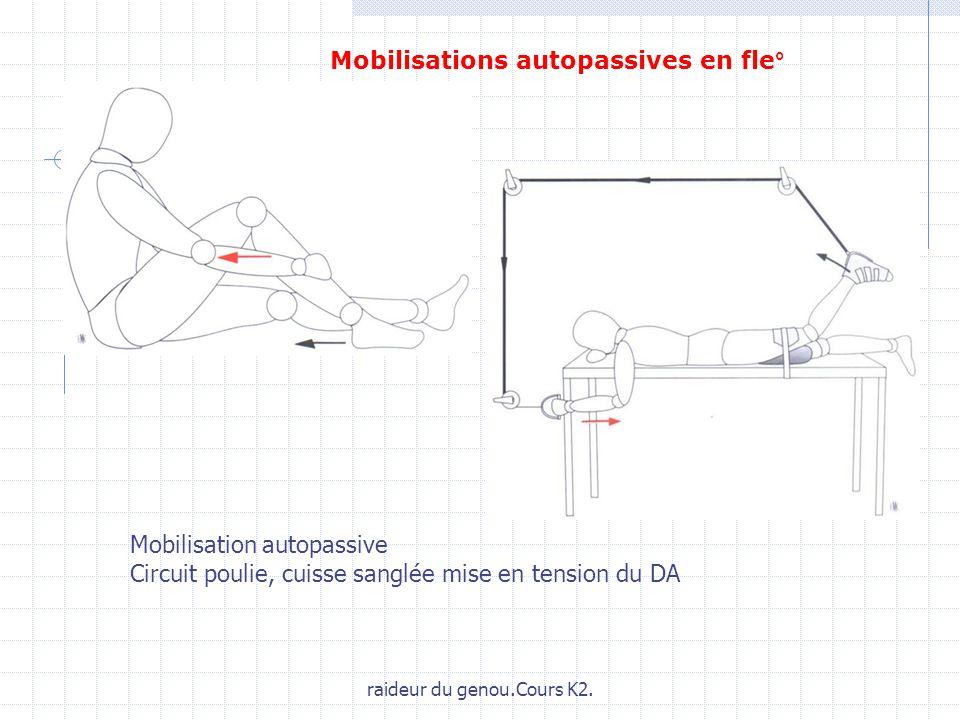raideur du genou.Cours K2. Mobilisation autopassive Circuit poulie, cuisse sanglée mise en tension du DA Mobilisations autopassives en fle°