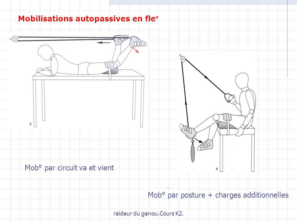 raideur du genou.Cours K2. Mob° par circuit va et vient Mob° par posture + charges additionnelles Mobilisations autopassives en fle°