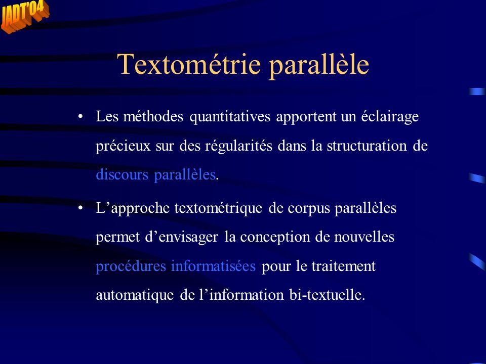 Textométrie parallèle Les méthodes quantitatives apportent un éclairage précieux sur des régularités dans la structuration de discours parallèles. L'a