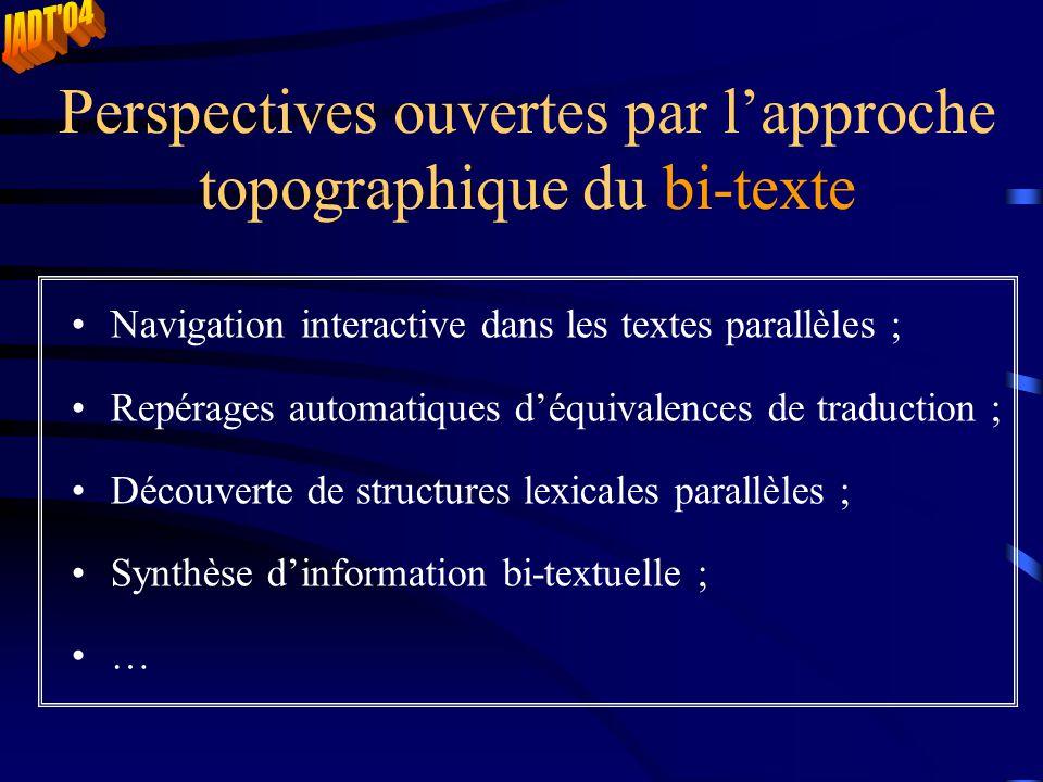 Perspectives ouvertes par l'approche topographique du bi-texte Navigation interactive dans les textes parallèles ; Repérages automatiques d'équivalences de traduction ; Découverte de structures lexicales parallèles ; Synthèse d'information bi-textuelle ; …