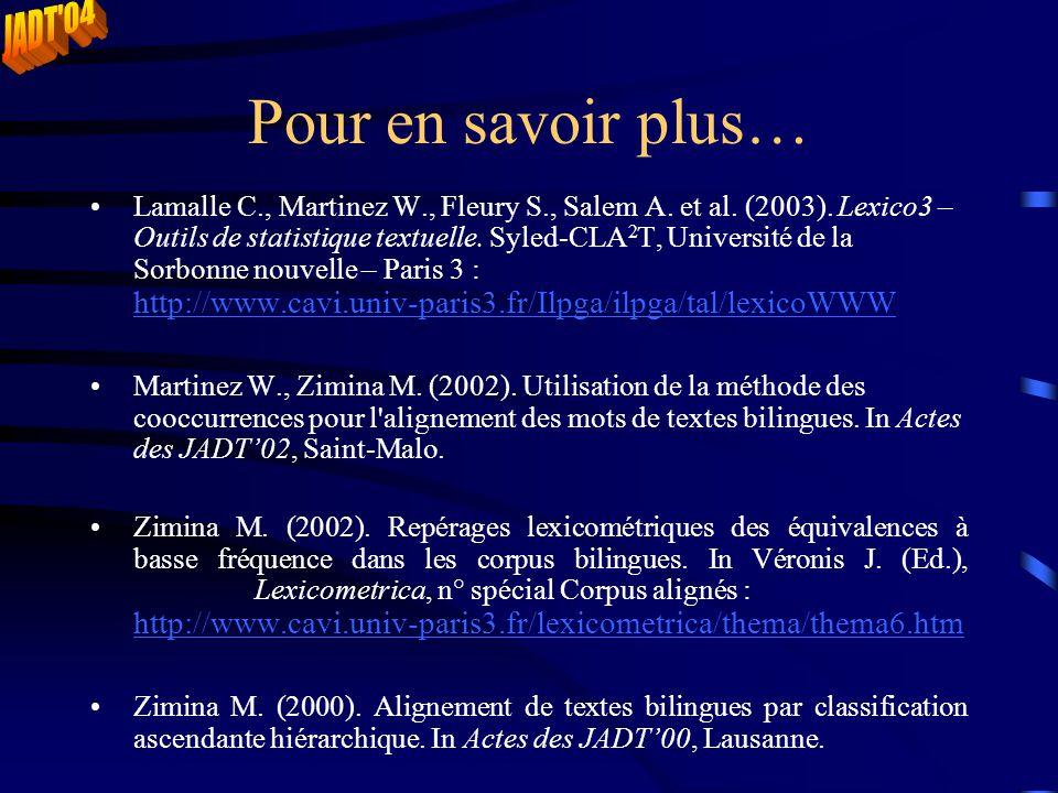 Pour en savoir plus… Lamalle C., Martinez W., Fleury S., Salem A. et al. (2003). Lexico3 – Outils de statistique textuelle. Syled-CLA 2 T, Université