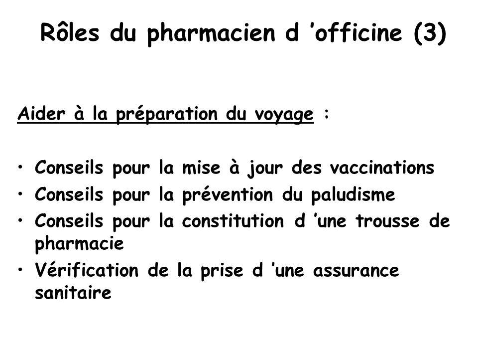 Rôles du pharmacien d 'officine (3) Aider à la préparation du voyage : Conseils pour la mise à jour des vaccinations Conseils pour la prévention du paludisme Conseils pour la constitution d 'une trousse de pharmacie Vérification de la prise d 'une assurance sanitaire