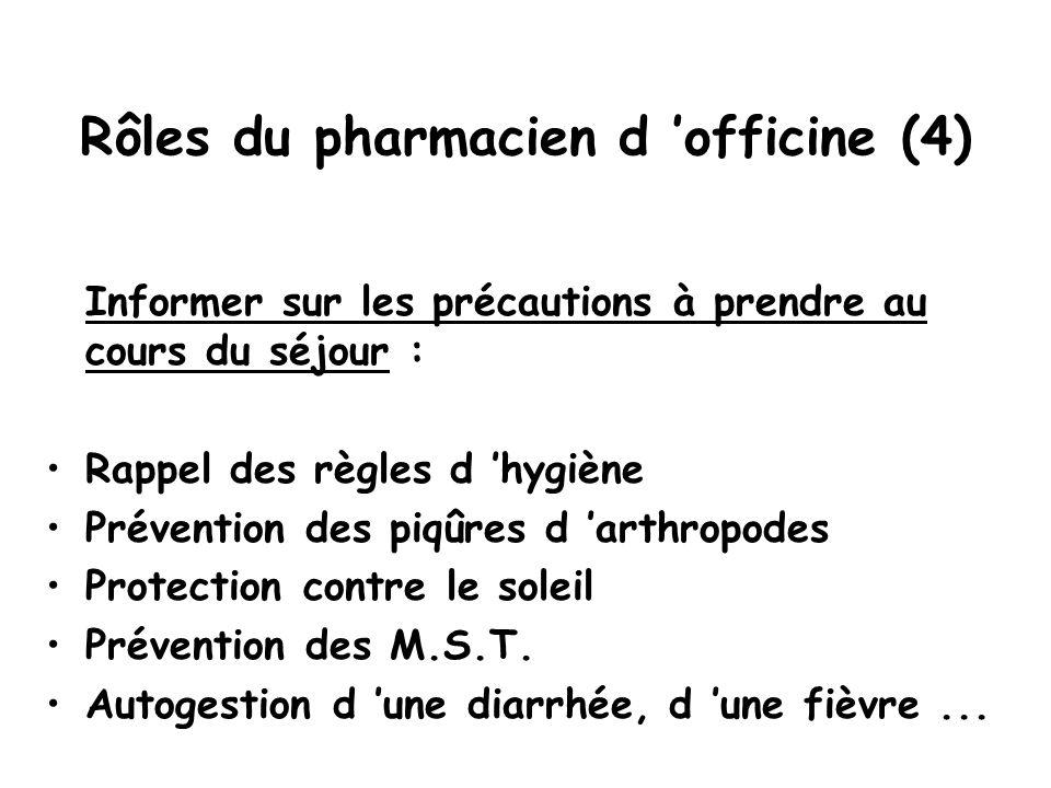 Rôles du pharmacien d 'officine (4) Informer sur les précautions à prendre au cours du séjour : Rappel des règles d 'hygiène Prévention des piqûres d 'arthropodes Protection contre le soleil Prévention des M.S.T.