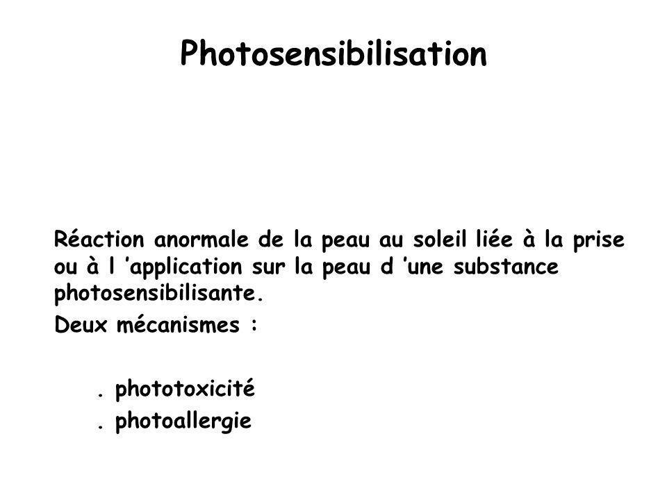 Photosensibilisation Réaction anormale de la peau au soleil liée à la prise ou à l 'application sur la peau d 'une substance photosensibilisante.
