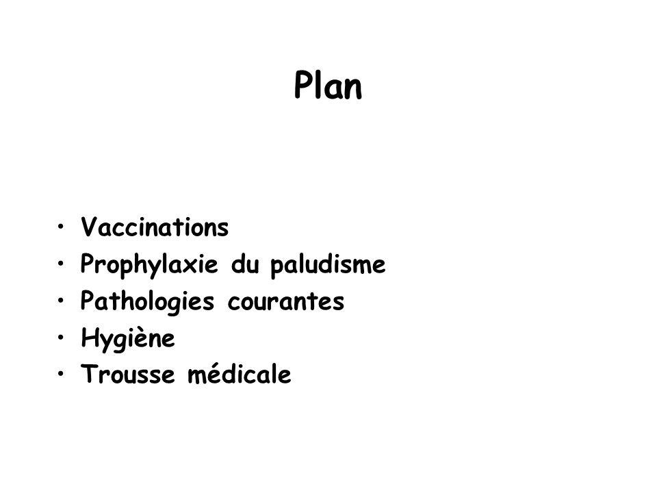 Plan Vaccinations Prophylaxie du paludisme Pathologies courantes Hygiène Trousse médicale