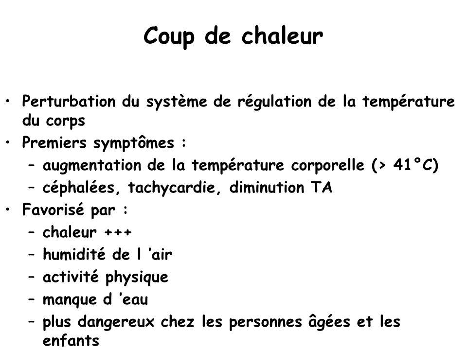 Coup de chaleur Perturbation du système de régulation de la température du corps Premiers symptômes : –augmentation de la température corporelle (> 41