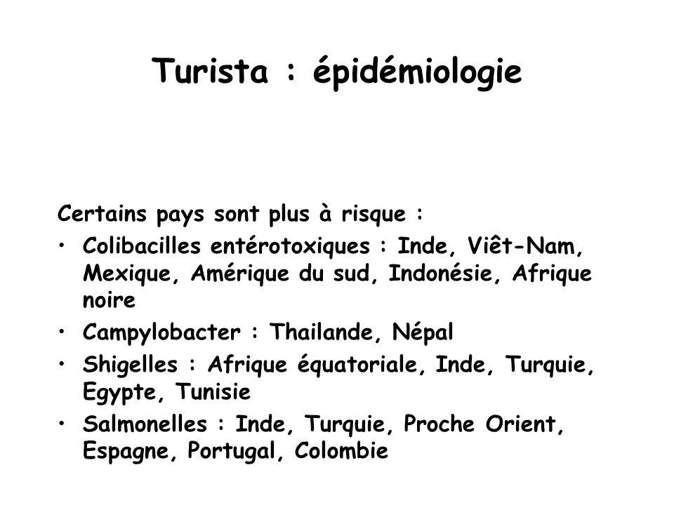 Turista : épidémiologie Certains pays sont plus à risque : Colibacilles entérotoxiques : Inde, Viêt-Nam, Mexique, Amérique du sud, Indonésie, Afrique
