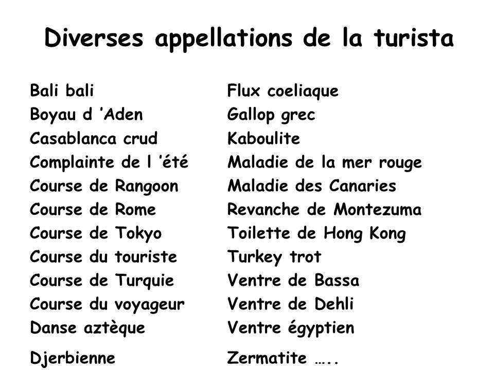 Diverses appellations de la turista Bali baliFlux coeliaque Boyau d 'AdenGallop grec Casablanca crudKaboulite Complainte de l 'étéMaladie de la mer ro