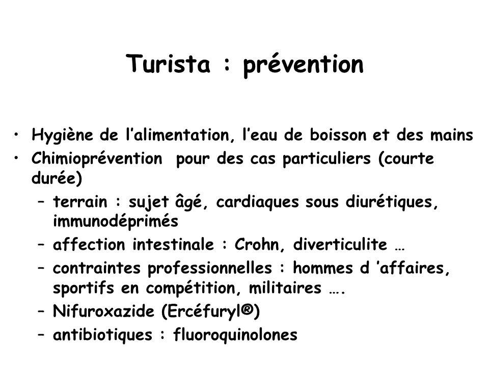 Turista : prévention Hygiène de l'alimentation, l'eau de boisson et des mains Chimioprévention pour des cas particuliers (courte durée) –terrain : suj