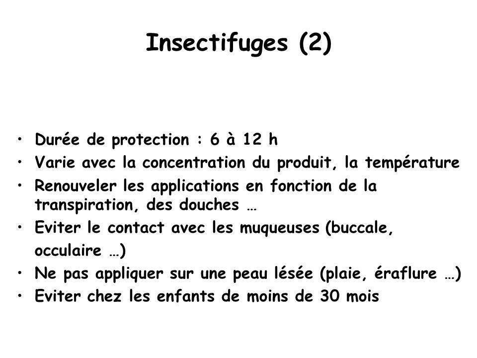 Insectifuges (2) Durée de protection : 6 à 12 h Varie avec la concentration du produit, la température Renouveler les applications en fonction de la transpiration, des douches … Eviter le contact avec les muqueuses (buccale, occulaire …) Ne pas appliquer sur une peau lésée (plaie, éraflure …) Eviter chez les enfants de moins de 30 mois
