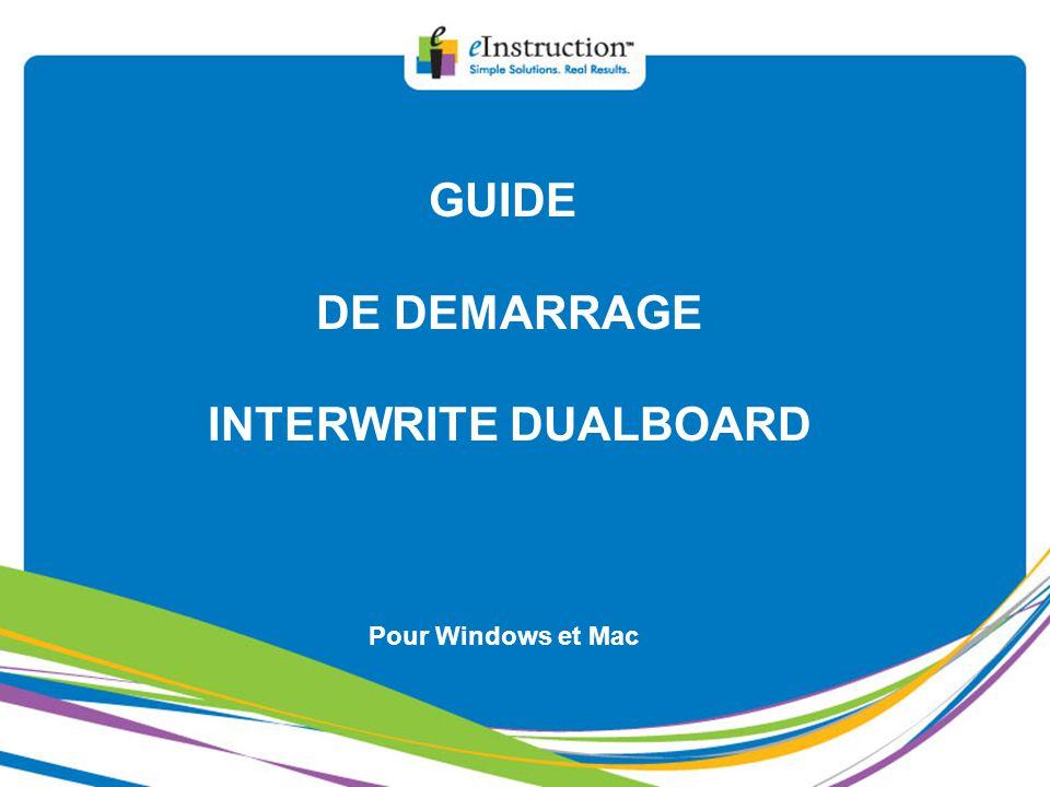 3) Indications pour l'installation d'un vidéoprojecteur avec un bras horizontal Tableau Interwrite Dualboard 1277 GUIDE DE DEMARRAGE INTERWRITEDUALBOARD