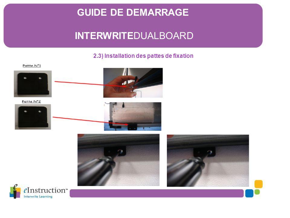 2.3) Installation des pattes de fixation GUIDE DE DEMARRAGE INTERWRITEDUALBOARD