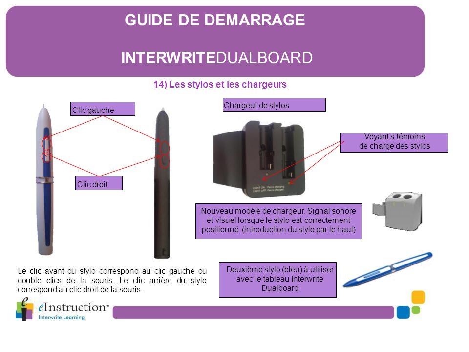 Clic gauche Clic droit Chargeur de stylos Le clic avant du stylo correspond au clic gauche ou double clics de la souris. Le clic arrière du stylo corr