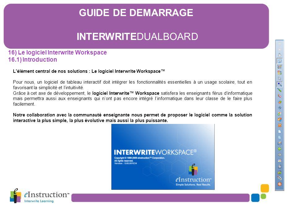 L'élément central de nos solutions : Le logiciel Interwrite Workspace™ Pour nous, un logiciel de tableau interactif doit intégrer les fonctionnalités
