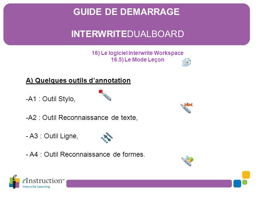 16) Le logiciel Interwrite Workspace 16.5) Le Mode Leçon A) Quelques outils d'annotation -A1 : Outil Stylo, -A2 : Outil Reconnaissance de texte, - A3