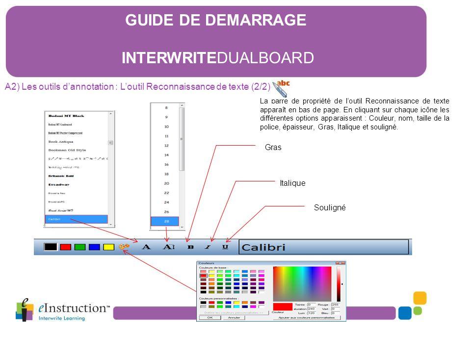 La barre de propriété de l'outil Reconnaissance de texte apparaît en bas de page. En cliquant sur chaque icône les différentes options apparaissent :