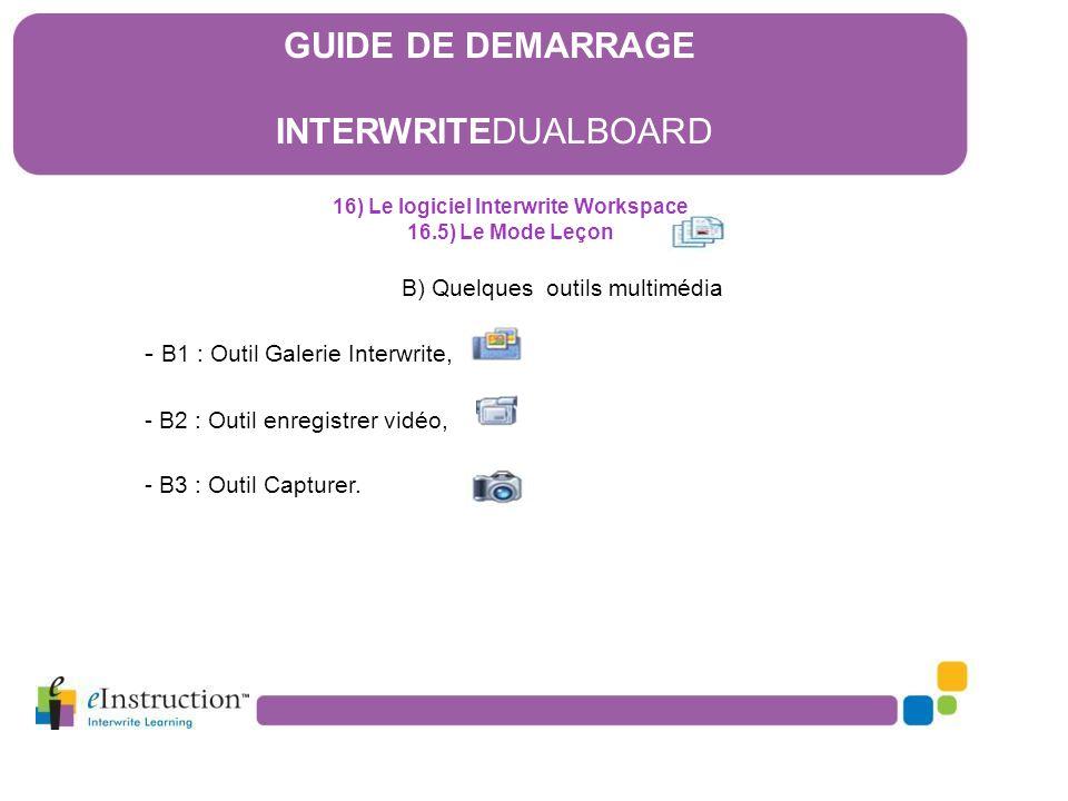 B) Quelques outils multimédia - B1 : Outil Galerie Interwrite, - B2 : Outil enregistrer vidéo, - B3 : Outil Capturer. 16) Le logiciel Interwrite Works