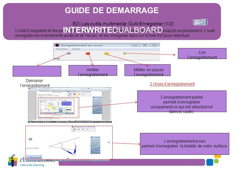 B2) Les outils multimédia: Outil Enregistrer (1/2) L'outil Enregistrer et lire permet d'enregistrer et de lire des événements sonores, lorsqu'ils se p