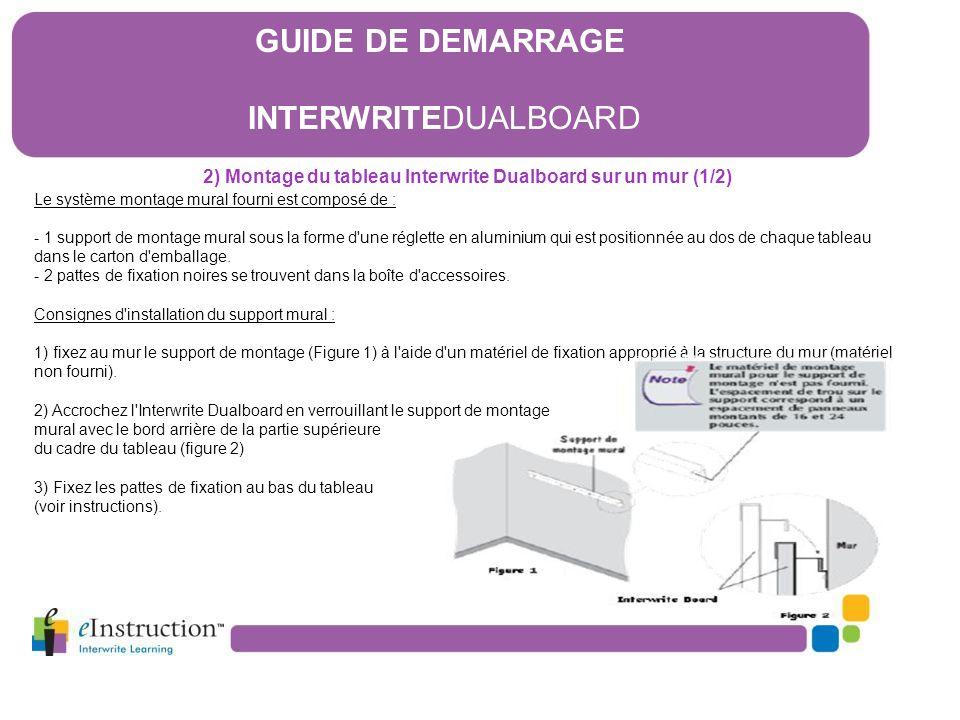 2) Montage du tableau Interwrite Dualboard sur un mur (1/2) Le système montage mural fourni est composé de : - 1 support de montage mural sous la form